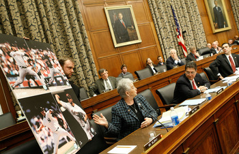 WASHINGTON - FEBRUARY 13:  Rep. Virginia Foxx (R- NC) shows pictures of Major League Baseball player Roger Clemens during a House Oversight and Government Reform Committee hearing February 13, 2008 in Washington, DC. The committee is hearing testimony on