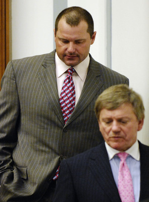 WASHINGTON - FEBRUARY 05:  Former New York Yankees pitcher Roger Clemens (R) departs with his attorneys Rusty Hardin (C) and Lanny Breuer (L),  after being deposed by the House Oversight and Government Reform Committee about steroid use in Major League Ba