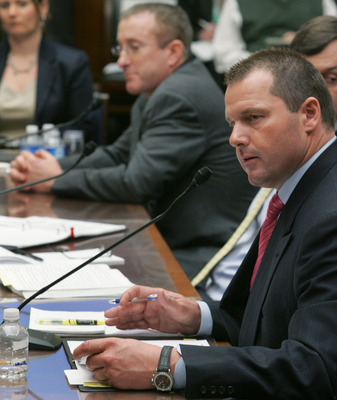 WASHINGTON - FEBRUARY 13:  Major League Baseball player Roger Clemens testifies during a House Oversight and Government Reform Committee hearing February 13, 2008 in Washington, DC. The committee is hearing testimony on use of steroids and performance enh
