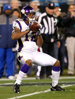 CHARLOTTE, NC - DECEMBER 20:  Percy Harvin #12 of the Minnesota Vikings against the Carolina Panthers at Bank of America Stadium on December 20, 2009 in Charlotte, North Carolina.  (Photo by Kevin C. Cox/Getty Images)