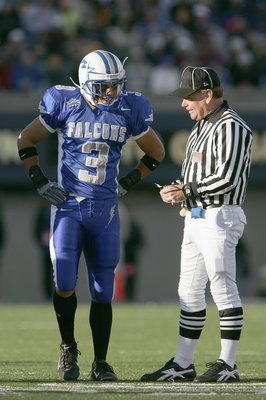 AIR FORCE ACADEMY, CO - NOVEMBER 11:  Nathan Smith #3 of the Air Force Falcons listens to the referee during the game against the Notre Dame Fighting Irish on November 11, 2006 at Falcon Stadium on the Air Force Academy near Colorado Springs, Colorado.  (