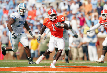 CLEMSON, SC - SEPTEMBER 23:  James Davis #1 of the Clemson Tigers runs with the ball during their game against the University of North Carolina Tar Heels on September 23, 2006 at Memorial Stadium in Clemson, South Carolina. (Photo By Streeter Lecka/Getty