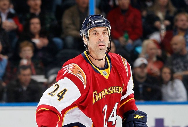 ATLANTA - MARCH 25:  Chris Chelios #24 of the Atlanta Thrashers against the Toronto Maple Leafs at Philips Arena on March 25, 2010 in Atlanta, Georgia.  (Photo by Kevin C. Cox/Getty Images)