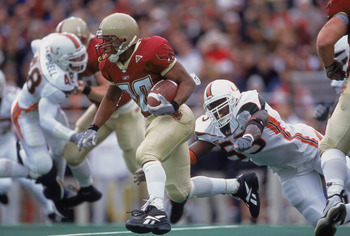 10 Nov 2001:  Running Back Derrick Knight #20 of the Boston College Eagles running with the ball during the game against the Miami (FL) Hurricanes at the Alumni Stadium in Boston, Massachusettes. The Hurricanes defeated the Eagles 18-7.Mandatory Credit: J