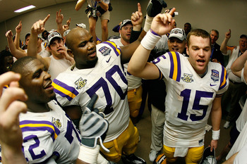 NEW ORLEANS - JANUARY 07:  Quarterback Matt Flynn #15 of the Louisiana State University Tigers celebrates after defeating the Ohio State Buckeyes 38-24 in the AllState BCS National Championship on January 7, 2008 at the Louisiana Superdome in New Orleans,