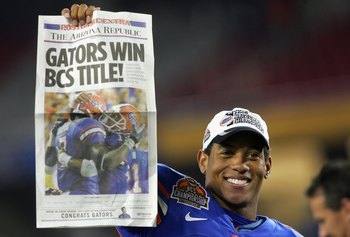 GLENDALE, AZ - JANUARY 08:  Quarterback Chris Leak #12 of the Florida Gators celebrates after defeating the Ohio State Buckeyes in the 2007 Tostitos BCS National Championship Game at the University of Phoenix Stadium on January 8, 2007 in Glendale, Arizon