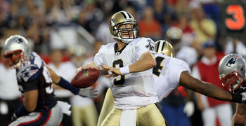 FOXBORO, MA - AUGUST 12: Drew Brees # 9 of the New Orleans Saints looks to pass in the first quarter during the preseason game against the New England Patriots at Gillette Stadium on August 12, 2010 in Foxboro, Massachusetts. (Photo by Jim Rogash/Getty Im