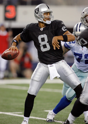ARLINGTON, TX - AUGUST 12: Jason Campbell #8 of the Oakland Raiders looks to pass in the preseason game againsts the Dallas Cowboys at the Dallas Cowboys Stadium on August 12, 2010 in Arlington, Texas. (Photo by Tom Pennington/Getty Images)