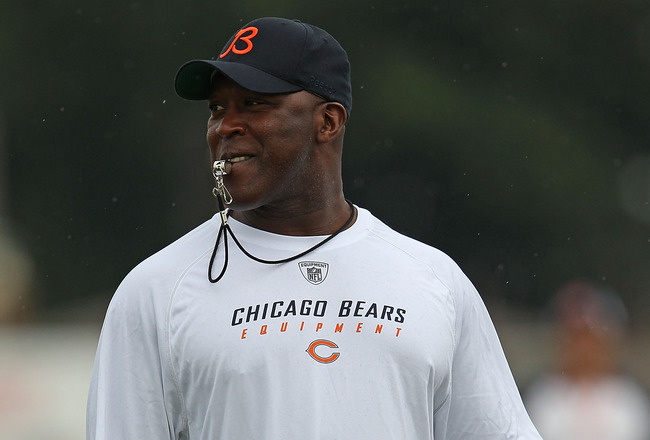 BOURBONNAIS, IL - JULY 30: Head coach Lovie Smith of the Chicago Bears blows his whistle during a summer training camp practice at Olivet Nazarene University on July 30, 2010 in Bourbonnais, Illinois.  (Photo by Jonathan Daniel/Getty Images)
