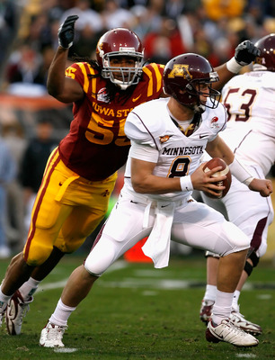 TEMPE, AZ - DECEMBER 31:  Quarterback Adam Weber #8 of the Minnesota Golden Gophers is sacked by Christopher Lyle #55 of the Iowa State Cyclones during the second quarter of the Insight Bowl at Arizona Stadium on December 31, 2009 in Tempe, Arizona.  (Pho