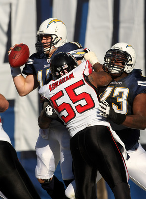 SAN DIEGO - NOVEMBER 30: Linebacker John Abraham #55 of the Atlanta Falcons hits quarterback Philip Rivers #17 of the San Diego Chargers in th end zone as offensive tackle Marcus McNeill blocks on November 30, 2008 at Qualcomm Stadium in San Diego, Califo