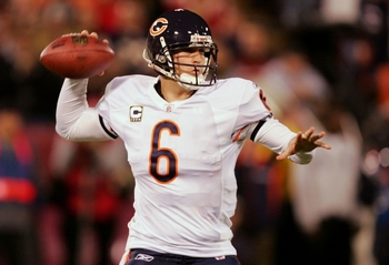 Jay Cutler targets one of his Chicago Bears teammates. He'll be doing this around 600 times this year under new coordinator Mike Martz.
