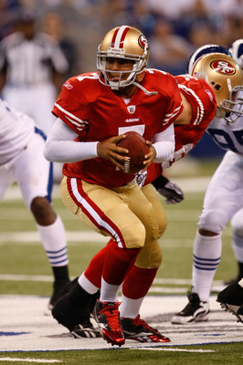 INDIANAPOLIS, IN - AUGUST 15: Nate Davis #7 of the San Francisco 49ers looks to pass during the preseason game against the Indianapolis Colts at Lucas Oil Stadium on August 15, 2010 in Indianapolis, Indiana. The 49ers defeated the Colts 37-17. (Photo by S