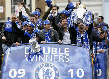 Chelsea squad With their Double