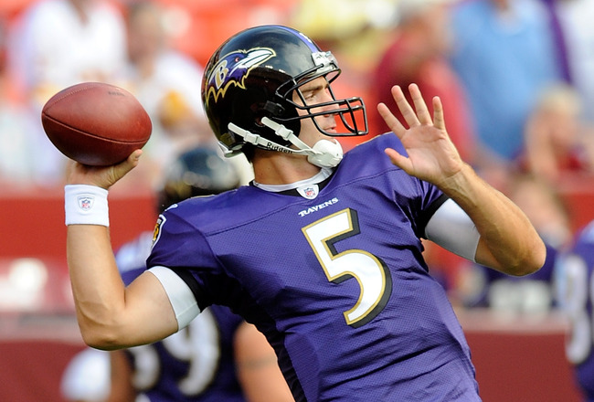 LANDOVER, MD - AUGUST 21: Joe Flacco #5 of the Baltimore Ravens warms up before the preseason game against the Washington Redskins at FedExField on August 21, 2010 in Landover, Maryland.  (Photo by Greg Fiume/Getty Images)