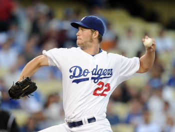 LOS ANGELES, CA - AUGUST 17:  Clayton Kershaw #22 of the Los Angeles Dodgers pitches against the Colorado Rockies during the first inning at Dodger Stadium on August 17, 2010 in Los Angeles, California.  (Photo by Harry How/Getty Images)