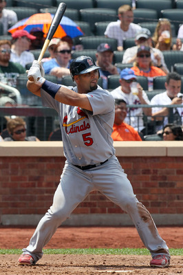 NEW YORK - JULY 29:  Albert Pujols #5 of the St. Louis Cardinals bats against the New York Mets on July 29, 2010 at Citi Field in the Flushing neighborhood of the Queens borough of New York City. The Mets defeated the Cardinals 4-0.  (Photo by Jim McIsaac