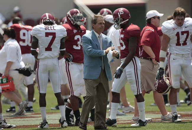 TUSCALOOSA, AL - APRIL 17:  Coach Nick Saban of the Alabama Crimson Tide watches during the Alabama spring game at Bryant Denny Stadium on April 17, 2010 in Tuscaloosa, Alabama. (Photo by Dave Martin/Getty Images)