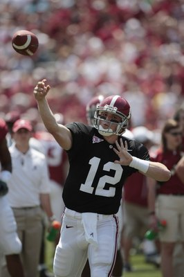 TUSCALOOSA, AL - APRIL 17: Quarterback Greg McElroy (12) of the University of Alabama throws during the Alabama spring game at Bryant Denny Stadium on April 17, 2010 in Tuscaloosa, Alabama. (Photo by Dave Martin/Getty Images)