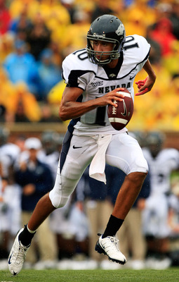 COLUMBIA, MO - SEPTEMBER 13:  Quarterback Colin Kaepernick #10 of the Nevada Wolf Pack rolls out during the first half of the game against the Missouri Tigers on September 13, 2008 at Memorial Stadium in Columbia, Missouri.  (Photo by Jamie Squire/Getty I