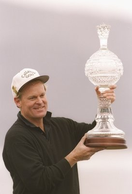 3 Feb 1994:  Johnny Miller poses with a trophy after the AT&T Pebble Beach National Pro-Am. Mandatory Credit: Gary Newkirk  /Allsport