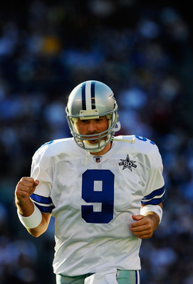 SAN DIEGO - AUGUST 21:  Quarterback Tony Romo #9 of the Dallas Cowboys reacts during their preseason NFL football game against San Diego Chargers at Qualcomm Stadium on August 21, 2010 in San Diego, California.  (Photo by Kevork Djansezian/Getty Images)