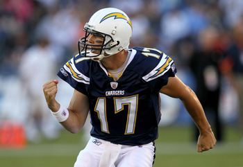 SAN DIEGO - AUGUST 14:  Quarterback Philip Rivers #17 of the San Diego Chargers celebrates after throwing a 28 yard touchdown pass in the first quarter against the Chicago Bears on August 14, 2010 at Qualcomm Stadium in San Diego, California.  (Photo by S