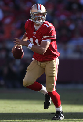 SAN FRANCISCO - AUGUST 22:  Alex Smith #11 of the San Francisco 49er passes against the Minnesota Vikings during an NFL pre-season game at Candlestick Park on August 22, 2010 in San Francisco, California.  (Photo by Jed Jacobsohn/Getty Images)