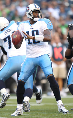 SEATTLE - AUGUST 14:  Quarterback Vince Young #10 of the Tennessee Titans looks to pass during the preseason game against the Seattle Seahawks at Qwest Field on August 14, 2010 in Seattle, Washington. (Photo by Otto Greule Jr/Getty Images)