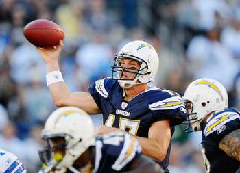 SAN DIEGO - AUGUST 21:  Quarterback Philip Rivers #17 of the San Diego Chargers throws a pass against the Dallas Cowboys during their preseason NFL football game at Qualcomm Stadium on August 21, 2010 in San Diego, California.  (Photo by Kevork Djansezian