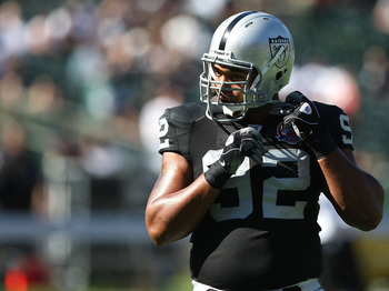 OAKLAND, CA - OCTOBER 25: Richard Seymour #92 of the Oakland Raiders looks on against the New York Jets during an NFL game at the Oakland-Alameda County Coliseum on October 25, 2009 in Oakland, California. (Photo by Jed Jacobsohn/Getty Images)