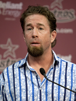 HOUSTON - JULY 11:  Jeff Bagwell, former Houston Astros first baseman, addresses the media after being named hitting coach at Minute Maid Park on July 11, 2010 in Houston, Texas. Bagwell is replacing Sean Berry and will start after the All-Star break.  (P