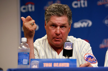 NEW YORK - AUGUST 22:  Tom Seaver speaks at a press conference commemorating the New York Mets 40th anniversary of the 1969 World Championship team on August 22, 2009 at Citi Field in the Flushing neighborhood of the Queens borough of New York City.  (Pho
