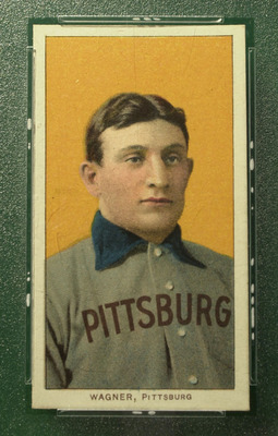 370565 02: The famous T206 Honus Wagner baseball card, is shown June 6, 2000 in New York City. The legendary baseball card will be auctioned on eBay beginning on July 5, 2000. (Photo by Chris Hondros/Newsmakers)