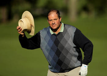 PEBBLE BEACH, CA - FEBRUARY 11:  Chris Berman tips his hat before finishing on the ninth hole during the first round of the AT&T Pebble Beach National Pro-Am at at the Spyglass Hill Golf Course on February 11, 2010 in Pebble Beach, California.  (Photo by