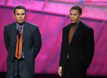 HOLLYWOOD - JULY 11:  Boise State football coach Chris Peterson (L) and player Ian Johnson accept the award for 'Best Game' onstage during the 2007 ESPY Awards at the Kodak Theatre on July 11, 2007 in Hollywood, California.  (Photo by Kevin Winter/Getty I