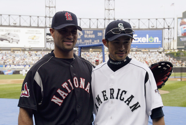 CHICAGO - JULY 14:  Albert Pujols poses with Ichiro Suzuki during batting practice before the Home Run Derby for the 74th Major League Baseball All Star Game on July 14, 2003  at US Cellular Field in Chicago, Illinois. (Photo by Matthew Stockman/Getty Ima