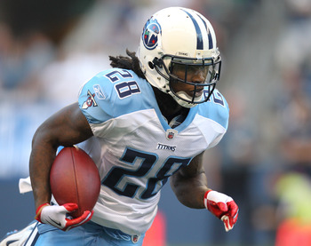 SEATTLE - AUGUST 14:  Running back Chris Johnson #28 of the Tennessee Titans rushes during the preseason game against the Seattle Seahawks at Qwest Field on August 14, 2010 in Seattle, Washington. (Photo by Otto Greule Jr/Getty Images)