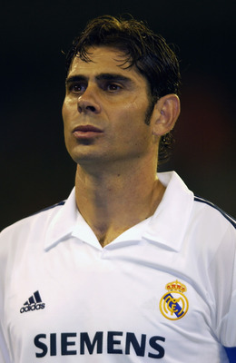 MADRID - OCTOBER 22:  Portrait of Fernando Hierro of Real Madrid before the UEFA Champions League First Stage Group C match between Real Madrid and AEK Athens held on October 22, 2002 at the Bernabeu, in Madrid, Spain. The match ended in a 2-2 draw. DIGIT