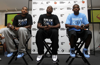 NEW YORK CITY, NY - AUGUST 13: (L-R) Carmelo Anthony, Dwyane Wade and Chris Paul of USAB are interviewed during the World Basketball Festival at Rucker Park on August 13, 2010 in New York City.  (Photo by Chris Trotman/Getty Images for Nike)