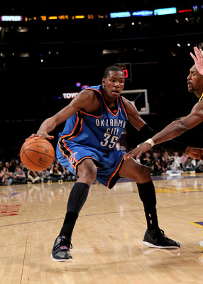 LOS ANGELES, CA - APRIL 20:  Kevin Durant#35 of the Oklahoma City Thunder controls the ball against the Los Angeles Lakers during  Game Two of the Western Conference Quarterfinals of the 2010 NBA Playoffs on April 20, 2010 at Staples Center in Los Angeles