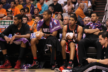 PHOENIX - APRIL 26:  (L-R) LaMarcus Aldridge #12, Marcus Camby #21, Nicolas Batum #88 and Brandon Roy #7 of the Portland Trail Blazers react on the bench during Game Five of the Western Conference Quarterfinals of the 2010 NBA Playoffs against the Phoenix