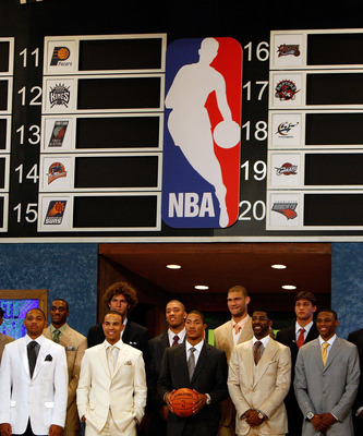 NEW YORK - JUNE 26:  Players pose prior to the 2008 NBA Draft at the WaMu Theatre at Madison Square Garden June 26, 2008 in New York City. NOTE TO USER: User expressly acknowledges and agrees that, by downloading and or using this photograph, User is cons
