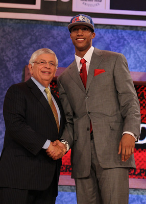 NEW YORK - JUNE 24:  Evan Turner of Ohio State stands with NBA Commisioner David Stern after being drafted by the Philadelphia 76ers second overall at Madison Square Garden on June 24, 2010 in New York City.  NOTE TO USER: User expressly acknowledges and