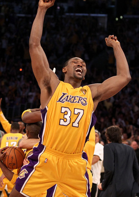 LOS ANGELES, CA - JUNE 17: Ron Artest #37 of the Los Angeles Lakers celebrates after the Lakers defeated the Boston Celtics in Game Seven of the 2010 NBA Finals at Staples Center on June 17, 2010 in Los Angeles, California.  NOTE TO USER: User expressly a