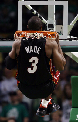 BOSTON - APRIL 27:  Dwyane Wade #3 of the Miami Heat does his pullups before opening tipoff against the Boston Celtics during Game Five of the Eastern Conference Quarterfinals of the 2010 NBA playoffs at the TD Garden on April 27, 2010 in Boston, Massachu