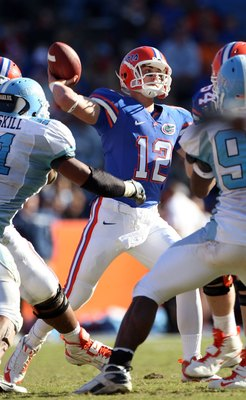 GAINESVILLE, FL - NOVEMBER 22:  John Brantley #12 of the Florida Gators throws a pass against the Citadel Bulldogs during the game at Ben Hill Griffin Stadium on November 22, 2008 in Gainesville, Florida.  (Photo by Sam Greenwood/Getty Images)