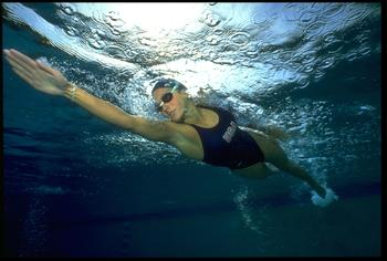 18 Jun 1992: Summer Sanders of the USA swimming, taken from an underwater perspective. Mandatory credit: Ken Levine/Allsport