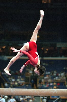27 Jul 2000:  Amy Chow doing her routine during the Balance Beam Event of the John Hancock U.S. Gymnastics Championships at the Kiel Center in St. Louis, Missouri.Mandatory Credit: Craig Jones  /Allsport