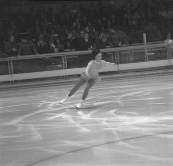 11 Feb 1968:   Peggy Fleming of the USA in action during her routine in the Women's Figure Skating event at the 1968 Winter Olympic Games in Grenoble, France. Fleming won the gold medal in this event.  (Photo by IOC Olympic Museum/Getty Images)